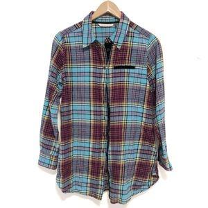 Soft surroundings velour plaid button down tunic